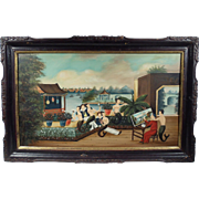 """Artistic Licence in Canton"", 20th Century Painting by Ralph Eugene Cahoon, Oil on M"
