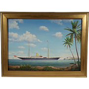 """Steam Yacht """"Viento Justo"""", Contemporary Maritime Painting by Graham Flight, Oil on"""