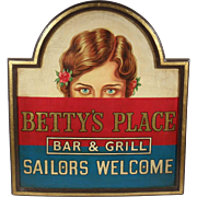 """Betty's Place"", Vintage Advertisement Sign, Painted Oil on Wood"