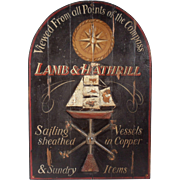 "Vintage Maritime Advertising Sign for ""Lamb and Hathrill"",  Painted Wood With Copper"