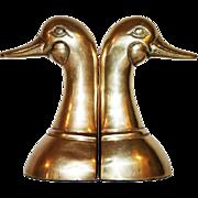 SOLD Brass Mallard Duck Bookends, Pair