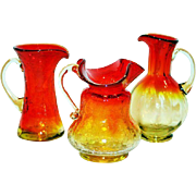 Vintage, Amberina Blenko Glass Mini Pitchers, S/3