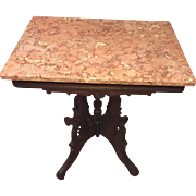 SALE Antique Victorian Pink Marble Top Table  Nice Detailing on Wood Frame