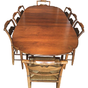 SALE Vintage Hitchcock Dining Set Table (2 Leaves) & 6 Chairs Rush Seats Eagle Stenciling