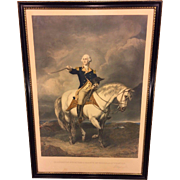 Antique Colored Lithograph George Washington Receiving a Salute on Field in Trenton  by Willia