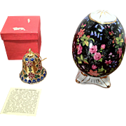 SALE Vintage Cloisonne Bell and Porcelain Egg