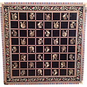 SALE Egyptian Themed Wood Game Board with Inlaid Squares and Trim