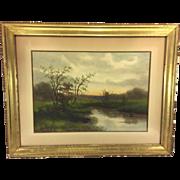 SALE Antique G Drisler Watercolor Landscape Scene of A Creek in Spring Framed Well Listed ...