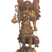 SALE Vintage Wood Carved Figure of Angel with Staff  Fish and Bird
