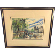 SALE Vintage French Watercolor Paris Street Scene by Pierre Eugene Cambier Matted & Framed