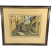 SALE Vintage French Watercolor Paris Street Scene by Pierre Eugene Cambier Matted & Framed ...