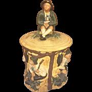 SALE Vintage Terrra Cotta Humidor Tobacco Jar with Figural Lid