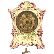 SALE Antique Ansonia Porcelain Case Clock #415 Not Running Pink & White w/ Flowering