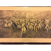 Antique Engraving Scotland For Ever, The Charge of the Scots Greys at Waterloo by Lady ...