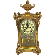 SOLD Ansonia Marquis Crystal Regulator Clock Runs & Strikes Early 1900s Porcelain Face Bronze