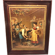 SALE Vintage Manz Brewing Company Lithograph in Antique Wood Frame with Shingle Back  Sackett
