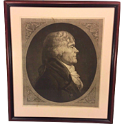 SALE Antique Framed Engraving of Thomas Jefferson by Max Rosenthal after Saint-Memin 1905