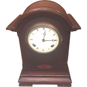 SALE Antique New Haven Mantel Clock with Inlay on Mahogany Case Runs  Time and Strike