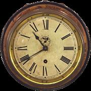 SALE Antique Waterbury Wall Clock Octagonal Oak Case Time Only Seconds Hand Runs