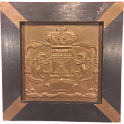 SALE Vintage Molded Copper Plaque Crest with Wood Frame Lions Candestick and Crown Images