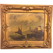 SALE Antique LeVitt Oil Painting Marine Scene with Lighthouse in Wood Frame Signed by Artist