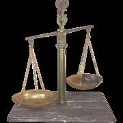 SALE Antique Italian Stone Brass & Horn Balance Scale with Marble Slab Base Bartolomeo Greppi
