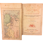 SALE Small Antique 1873 Holy Bible with Brass Corners and Hinges Colored Maps Gold Gilt ...