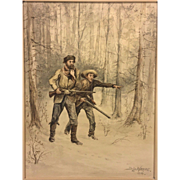 SALE Joseph De La Harpe  Watercolor Painting (American School, 19th Century) Two Hunters in th
