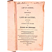 SALE Antique Law of Nations Book 1805 by M D Vattel with US DE Senator ...