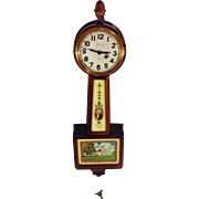 SALE Vintage Waltham Spring Mini Banjo Clock Model B1594 with George Washington and Mt. Vernon