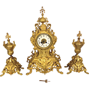 SALE Antique Japy Freres Gilt Brass Clock and Garniture Set Rococo Style Porcelain Face Runnin