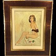 SALE Vintage Mel Ramos Enamel/Acrylic on Wood Panel Female Seated Nude Signed with Fern ...