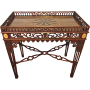 SALE Vintage Heppelwhite Style Tea Table Mahogany with Elaborate Overall Scroll and Arch Cut .
