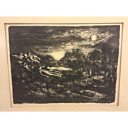 "SALE Vintage Martin Jackson Nightscape Wood Print Lithograph ""Moon Dreamers"" 12/3"