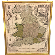 SALE Antique Map of England Britannia sive Anglia Regnum Anglo Saxonum Imperia by Carthographe