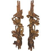 SALE Antique Pair of Black Forest Wall Carvings with Mountain Goats Oak Tree with Acorns ...