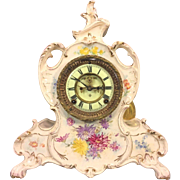 SALE Antique Ansonia Porcelain Royal Bonn Case Clock La Vendee Model 1880s w/ Open Escapement