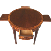 SALE Vintage Baker Round Side Table w/ Inlay 2 Drawers and 2 Candle Slides Pembroke ...
