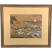 SALE Vtg McDowell Watercolor Painting 1970 Coastal Scene of Light House & Sail Boat