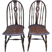 Vintage Pair of Mahogany Wheatback Chairs Decoratively Designed Seatpans Spindles in Place