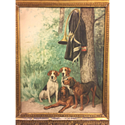 SALE Antique Watercolor Painting of 4 Hunting Dogs w/ Horn & Military Jacket Hanging in Tree .
