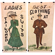 Vintage Pair of  General Store Advertising Signs on Cotton Cloth - Clothing Advertising