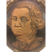SALE Antique George Washington 209th Birthday Face Memorial Painted Cardboard