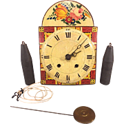 SALE Antique Wag on Wall Clock with Weights & Pendulum Painted Face Wood Case Not Running ...