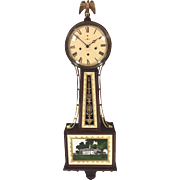 Vintage New Haven Banjo Clock Willard Model 1920s Westminster Chimes Barrel Pendulum Runs ...