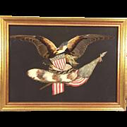 SALE Antique Feather Art Piece Eagle Shield American Flag Framed