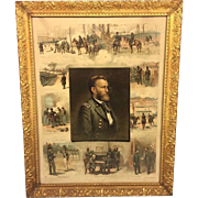 Antique Chromolithograph of US Grant 1885 by L Prang In Gold Gilted Wood Frame