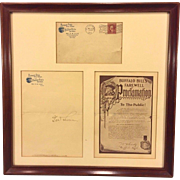 SALE Antique Buffalo Bill Farewell Proclamation Signed by Major G W Lillie Letter Envelope and