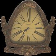 SALE Vintage Waltham Shelf Clock Art Nouveau Case Time Only Runs