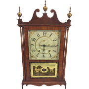 SALE Antique Henry Terry Pillar & Scroll Clock 1830s Runs & Strikes Mahogany Case Solid Wood .